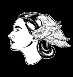 Hand drawn of beautiful woman with wing hand vector