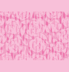 Hand painted pink rose silhouettes background with vector