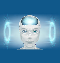 head robot android on technology background vector image