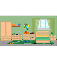 Interior of a children s bedroom with furniture vector
