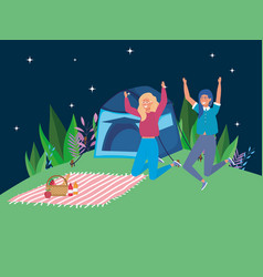 Jumping women tent blanket camping picnic night vector