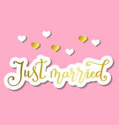 just married in golden in paper cut style on pink vector image