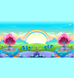 Landscape of dreams with rainbow vector