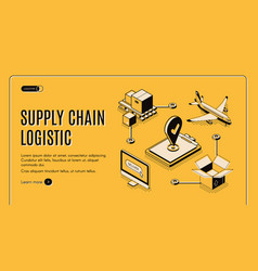 logistics company supply chain isometric webpage vector image