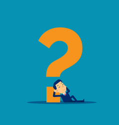 Man is thinking question mark cute flat cartoon vector