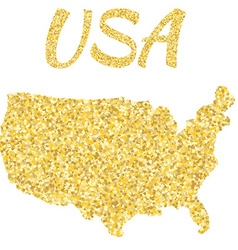 Map of USA in golden With gold yellow particles vector image
