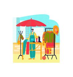 market stalls flat style clothing set fashion vector image