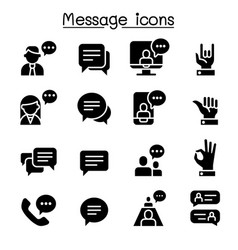 message chat discussion icon set vector image