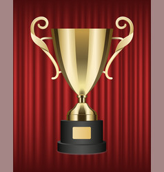 metallic trophy shiny golden cup image vector image