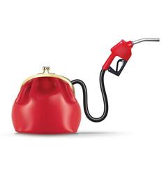 Money flows from purse through fuel nozzle vector