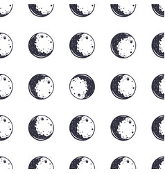 Moon seamless pattern monochrome vintage hand vector
