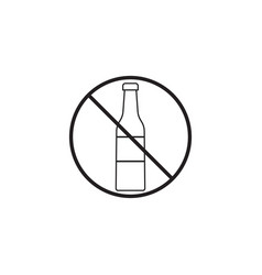 No alcohol line icon prohibited sign vector