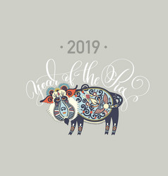 original new year poster - 2019 year pig vector image