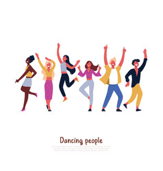 party dancers smiling people dancing having fun vector image