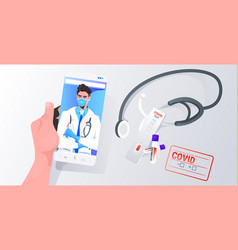 patient discusssing with male doctor in mask vector image