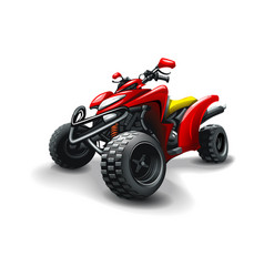 Red quad bike on white background vector