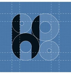 Round engineering font symbol h vector