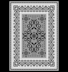 Rug with an ethnic black and white pattern vector