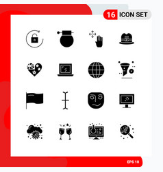 Set 16 commercial solid glyphs pack for flag vector