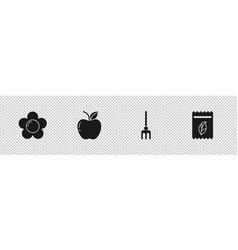Set flower apple garden rake and pack full vector