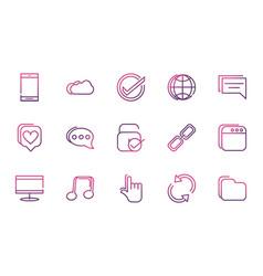 set network social media icons line vector image
