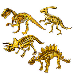 Set of dinosaur skeletons made of gold souvenirs vector