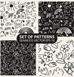 set of seamless hand drawn patterns in the style vector image
