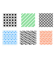 Set of seamless pixel pattern on white vector