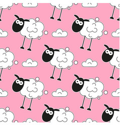 sheep seamless pattern cartoon vector image