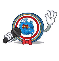 Singing dragonchain coin mascot cartoon vector