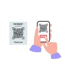 Smartphone in your hand concept scan qr code vector