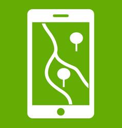 smartphone with gps navigator icon green vector image