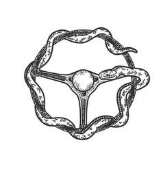 Snake steering wheel sketch vector