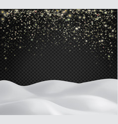 snowy landscape with shiny sparkling snowflakes vector image