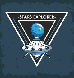 Space explorer patch emblem design vector