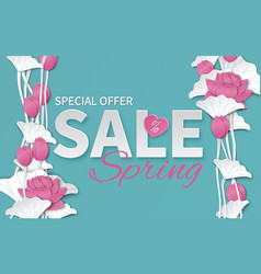 Spring sale banner with paper cut lotus flowers vector