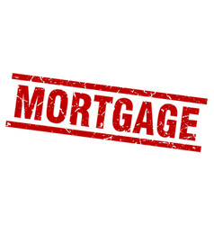 Square grunge red mortgage stamp vector
