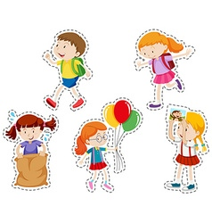 Sticker set with boy and girl vector image