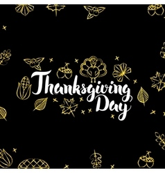 Thanksgiving Day Gold Black Postcard vector