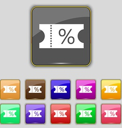 ticket discount icon sign Set with eleven colored vector image