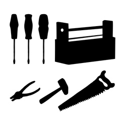 Tools set silhouettes vector