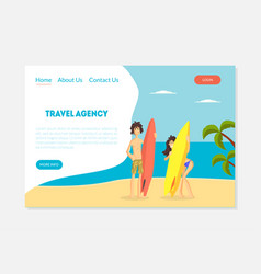 travel agency banner tour operator landing page vector image