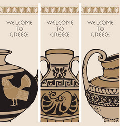 travel banners on theme ancient greece vector image