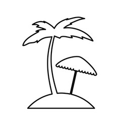 tree palm beach with umbrella vector image