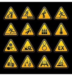 Triangular warning signs vector