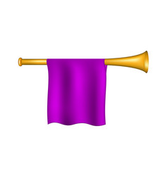 trumpet with purple flag vector image