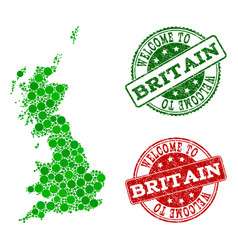 welcome collage of map of great britain and vector image