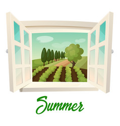 window with view on summer farm or garden vector image
