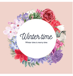 Winter bloom wreath design with various florals vector
