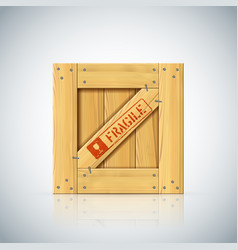 Wirebound square wooden container vector